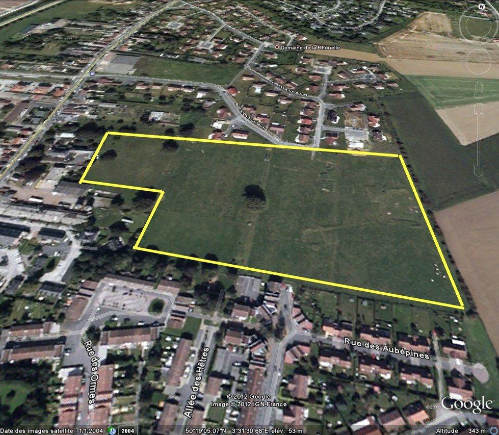-Domaine de la Rhonelle (phase 3): Les fouilles Archéologiques. dans Archéologie Famars_Vue-Satellite-de-la-zone-de-fouilles