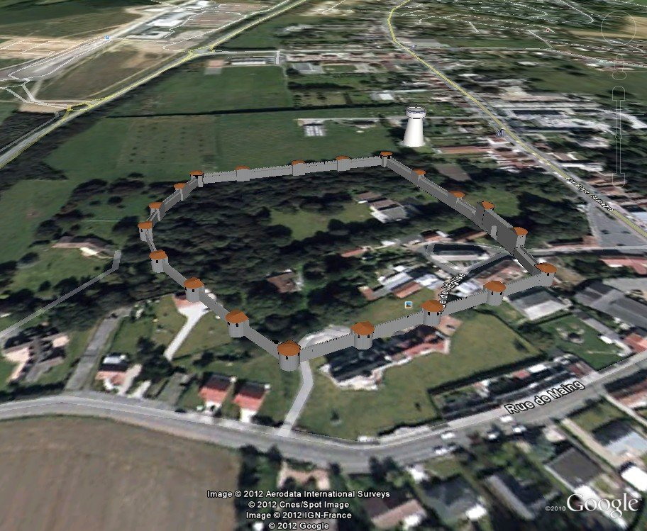 -Famars: Castellum, Château, Manoir ? dans Archéologie Famars-_Castellum-3D-Google-Earth