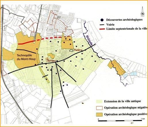 Plan des fouilles et technopole